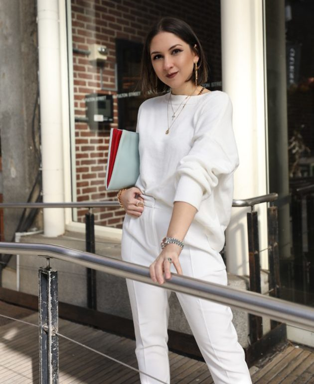 female monochrome white outfit